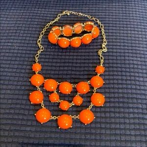 Orange bobble necklace & bracelet set
